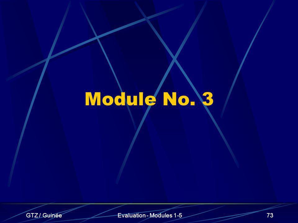 GTZ / GuinéeEvaluation - Modules 1-573 Module No. 3