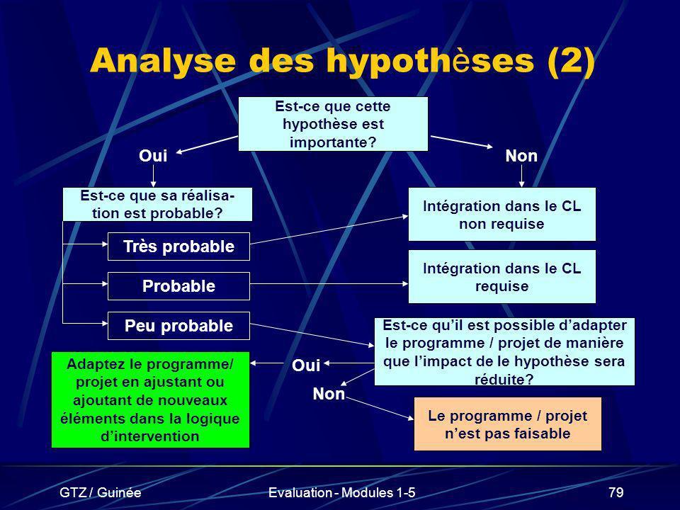 GTZ / GuinéeEvaluation - Modules 1-579 Analyse des hypoth è ses (2) Est-ce que cette hypothèse est importante? OuiNon Est-ce que sa réalisa- tion est