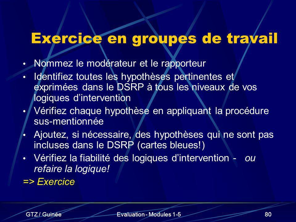 GTZ / GuinéeEvaluation - Modules 1-580 Exercice en groupes de travail Nommez le modérateur et le rapporteur Identifiez toutes les hypothèses pertinent