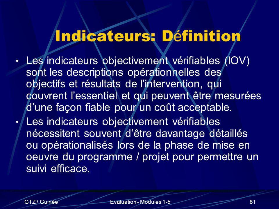GTZ / GuinéeEvaluation - Modules 1-581 Indicateurs: D é finition Les indicateurs objectivement vérifiables (IOV) sont les descriptions opérationnelles