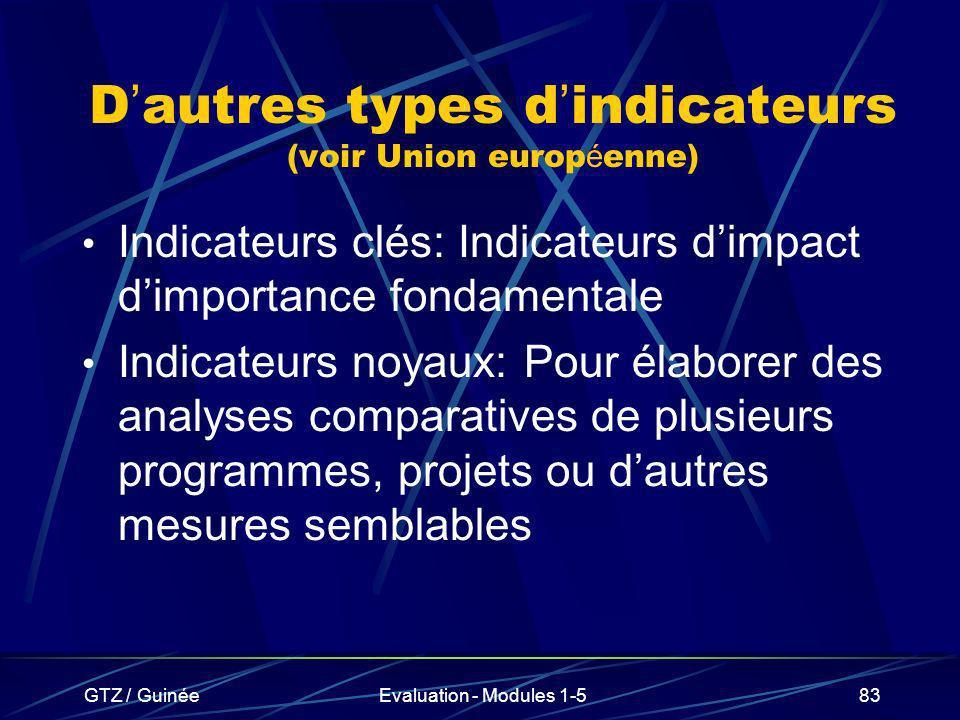 GTZ / GuinéeEvaluation - Modules 1-583 D autres types d indicateurs (voir Union europ é enne) Indicateurs clés: Indicateurs dimpact dimportance fondam