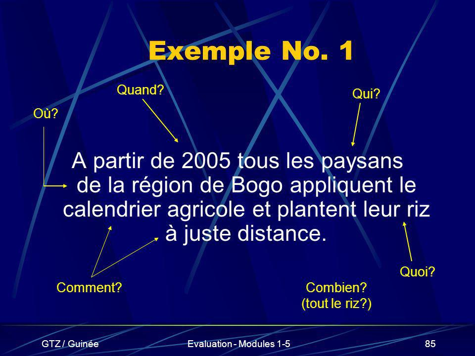 GTZ / GuinéeEvaluation - Modules 1-585 Exemple No. 1 A partir de 2005 tous les paysans de la région de Bogo appliquent le calendrier agricole et plant