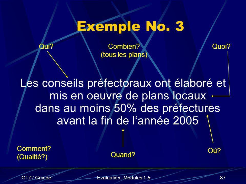 GTZ / GuinéeEvaluation - Modules 1-587 Exemple No. 3 Les conseils préfectoraux ont élaboré et mis en oeuvre de plans locaux dans au moins 50% des préf