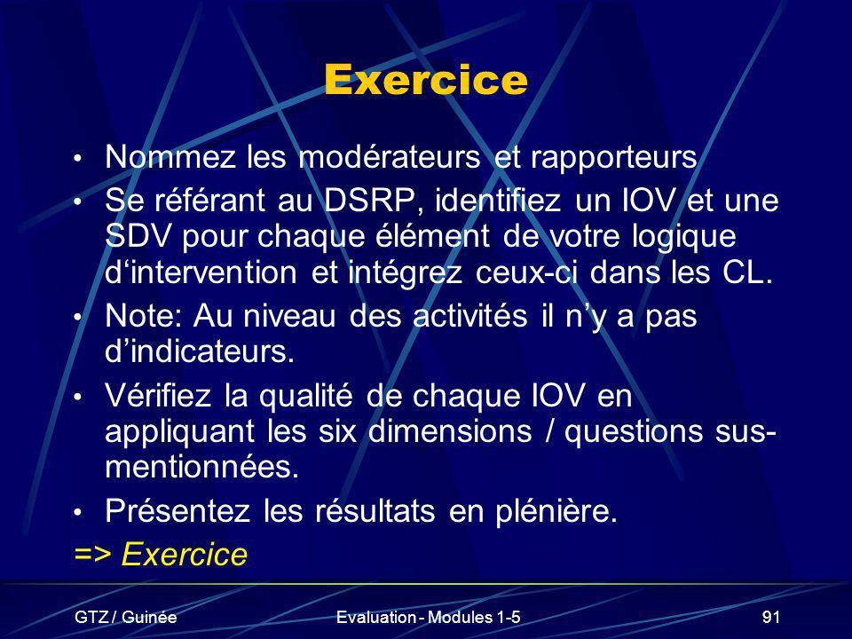 GTZ / GuinéeEvaluation - Modules 1-591 Exercice Nommez les modérateurs et rapporteurs Se référant au DSRP, identifiez un IOV et une SDV pour chaque él