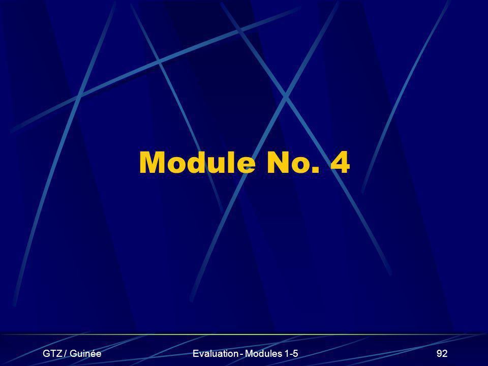 GTZ / GuinéeEvaluation - Modules 1-592 Module No. 4