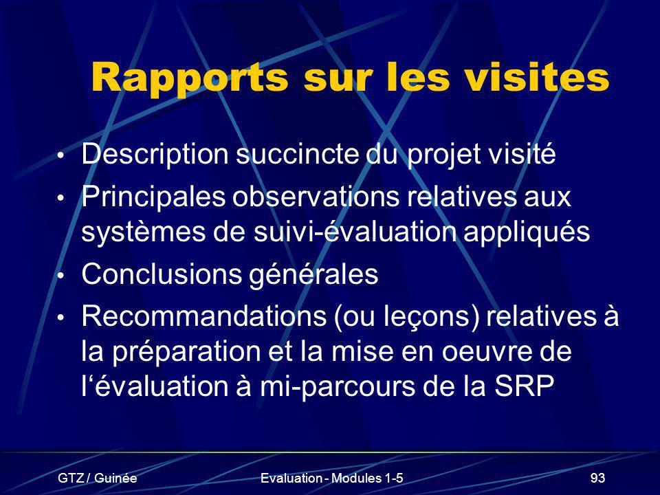 GTZ / GuinéeEvaluation - Modules 1-593 Rapports sur les visites Description succincte du projet visité Principales observations relatives aux systèmes
