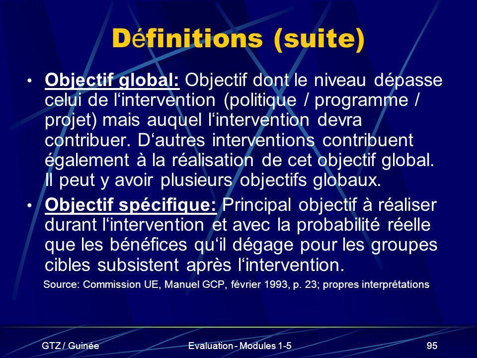 GTZ / GuinéeEvaluation - Modules 1-595 D é finitions (suite) Objectif global: Objectif dont le niveau dépasse celui de lintervention (politique / prog