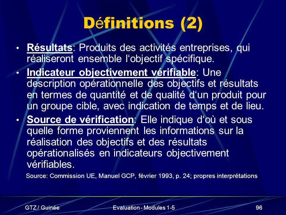 GTZ / GuinéeEvaluation - Modules 1-596 D é finitions (2) Résultats: Produits des activités entreprises, qui réaliseront ensemble lobjectif spécifique.