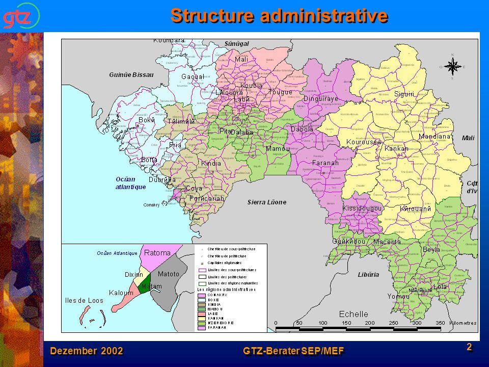 Dezember 2002 GTZ-Berater SEP/MEF 3 La population guinéenne Indicateurs démographiques : Population:8 Mio.