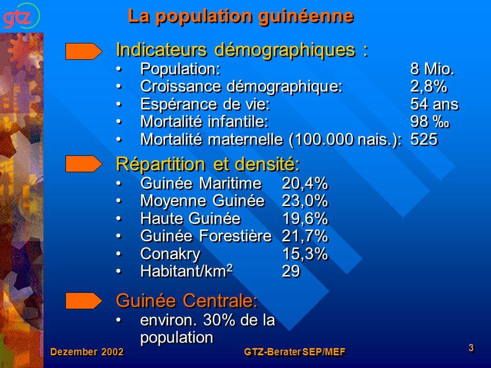 Dezember 2002 GTZ-Berater SEP/MEF 3 La population guinéenne Indicateurs démographiques : Population:8 Mio. Croissance démographique:2,8% Espérance de