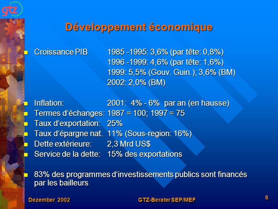 Dezember 2002 GTZ-Berater SEP/MEF 6 Développement économique Croissance PIB1985 -1995: 3,6% (par tête: 0,8%) Croissance PIB1985 -1995: 3,6% (par tête: