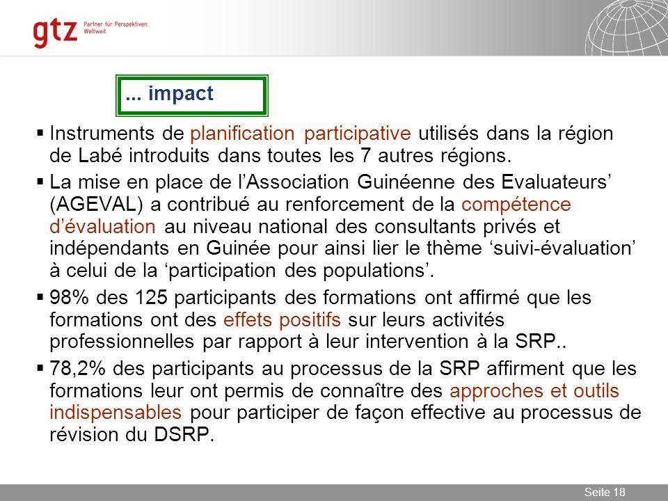 08.01.2014 Seite 18 Seite 18... impact Instruments de planification participative utilisés dans la région de Labé introduits dans toutes les 7 autres