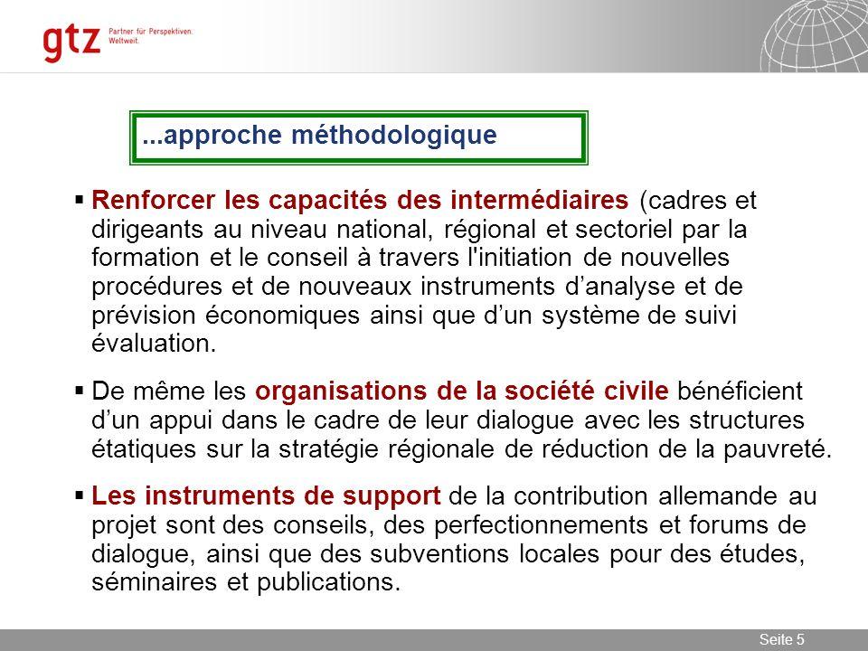 08.01.2014 Seite 6 Seite 6 La Chaîne des effets envisagée Le projet offre un appui technique, méthodique et organisationnel.