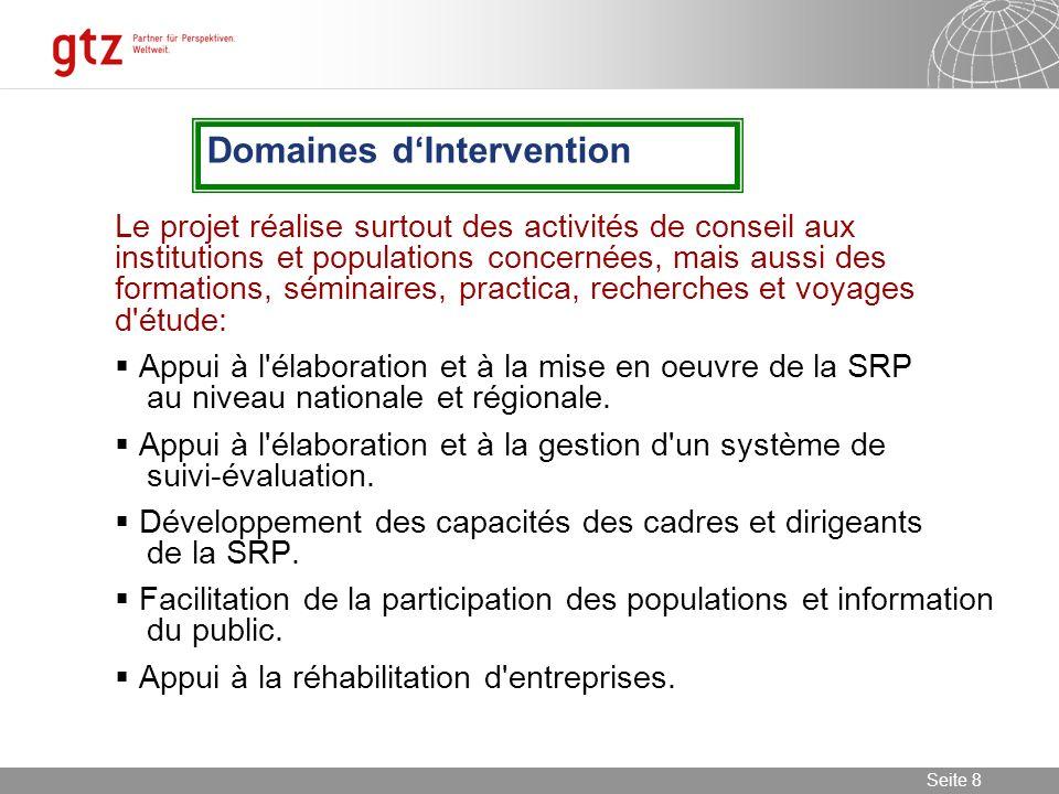 08.01.2014 Seite 9 Seite 9 Participation des populations à la formulation et à l évaluation de la SRP au niveau régional