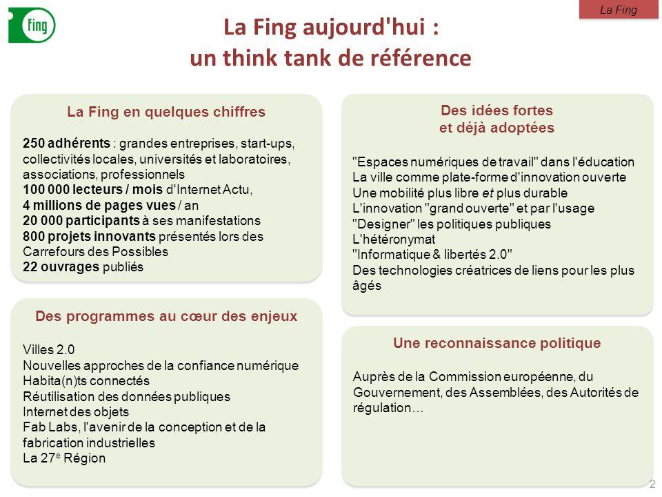 La Fing aujourd'hui : un think tank de référence 2 La Fing en quelques chiffres 250 adhérents : grandes entreprises, start-ups, collectivités locales,