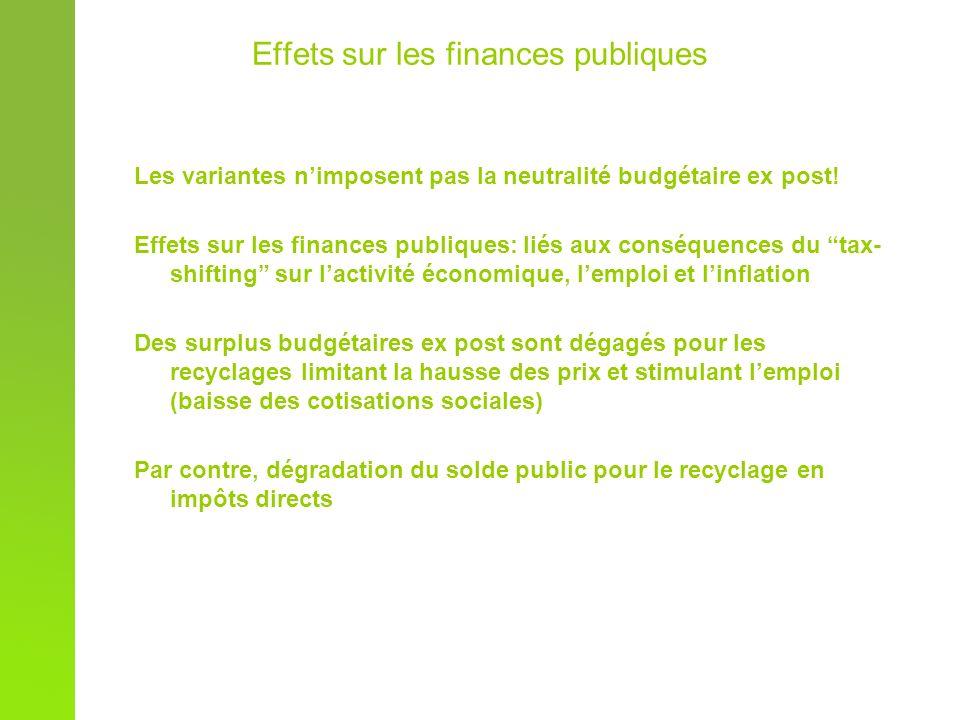 Effets sur les finances publiques Les variantes nimposent pas la neutralité budgétaire ex post.