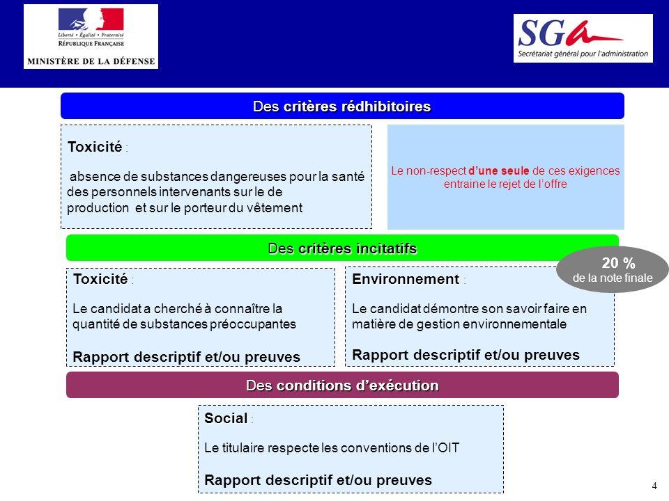 4 Des critères rédhibitoires Des critères incitatifs Toxicité : absence de substances dangereuses pour la santé des personnels intervenants sur le de