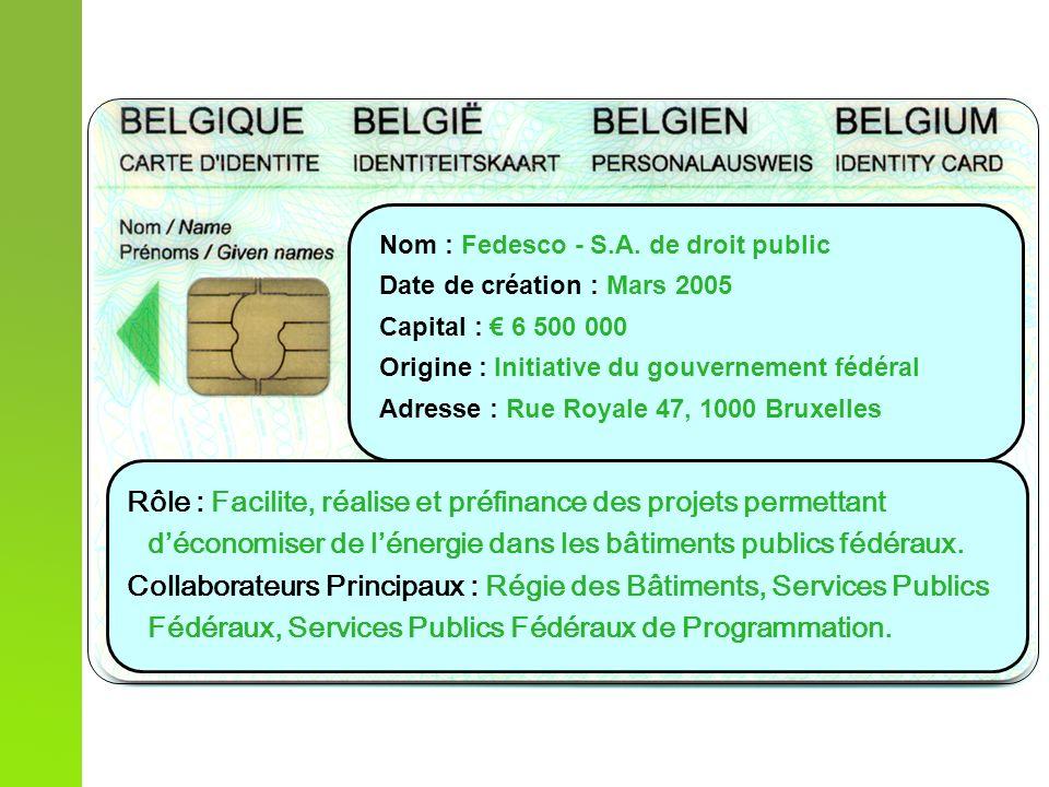 Nom : Fedesco - S.A. de droit public Date de création : Mars 2005 Capital : 6 500 000 Origine : Initiative du gouvernement fédéral Adresse : Rue Royal