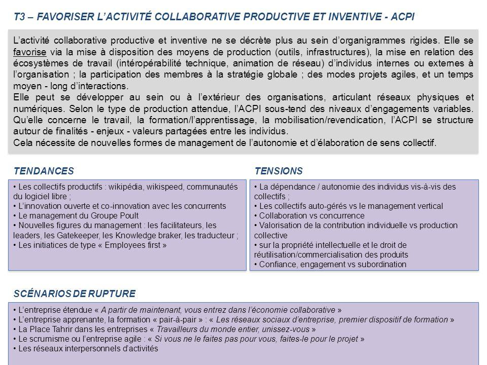 T3 – FAVORISER LACTIVITÉ COLLABORATIVE PRODUCTIVE ET INVENTIVE - ACPI TENDANCES Les collectifs productifs : wikipédia, wikispeed, communautés du logic