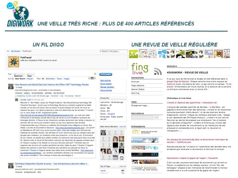 UNE VEILLE TRÈS RICHE : PLUS DE 400 ARTICLES RÉFÉRENCÉS UN FIL DIIGOUNE REVUE DE VEILLE RÉGULIÈRE
