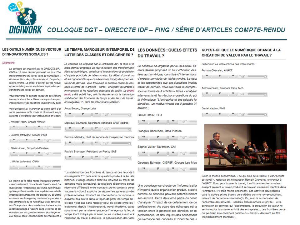 COLLOQUE DGT – DIRECCTE IDF – FING / SÉRIE DARTICLES COMPTE-RENDU