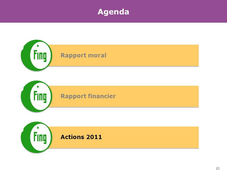 21 Agenda Rapport moral Rapport financier Actions 2011