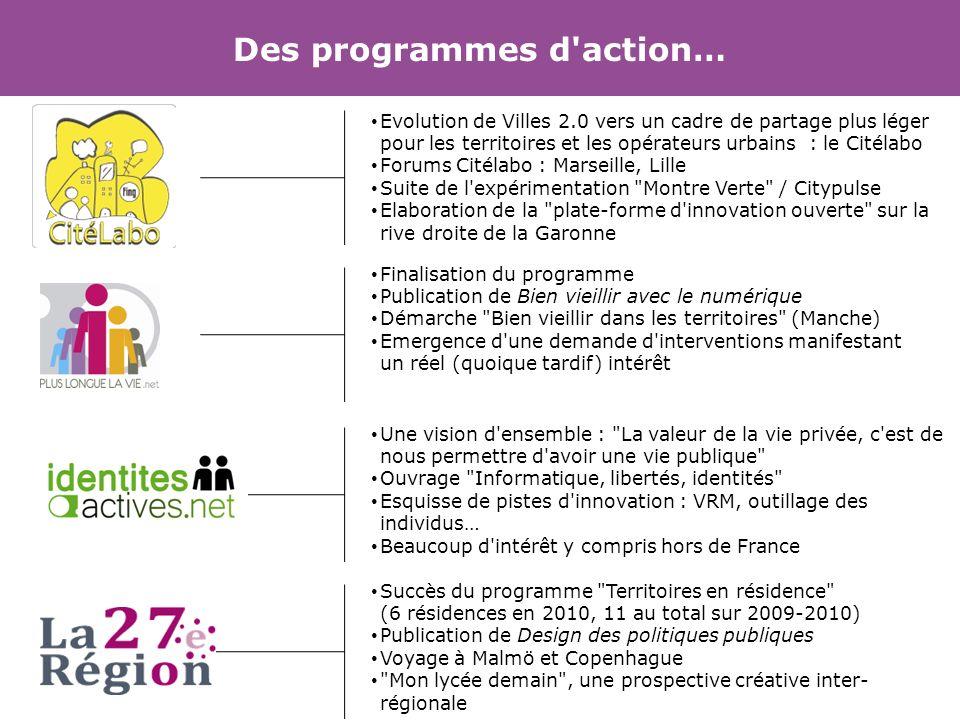 Des programmes d'action… Evolution de Villes 2.0 vers un cadre de partage plus léger pour les territoires et les opérateurs urbains : le Citélabo Foru