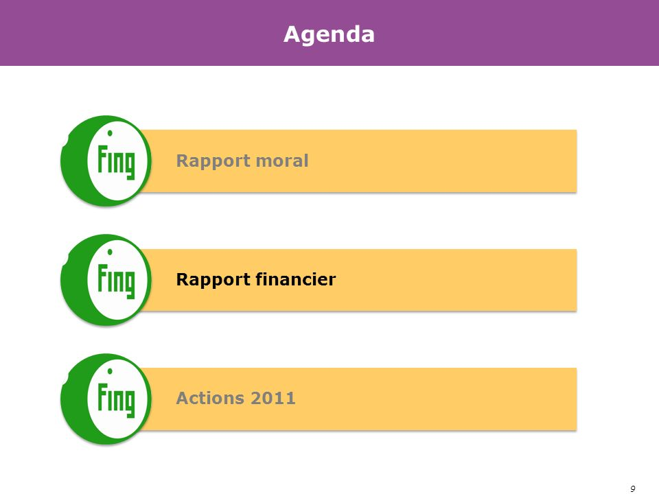 9 Agenda Rapport moral Rapport financier Actions 2011