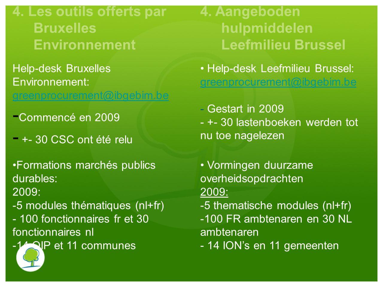 4. Les outils offerts par Bruxelles Environnement 4. Aangeboden hulpmiddelen Leefmilieu Brussel Help-desk Bruxelles Environnement: greenprocurement@ib