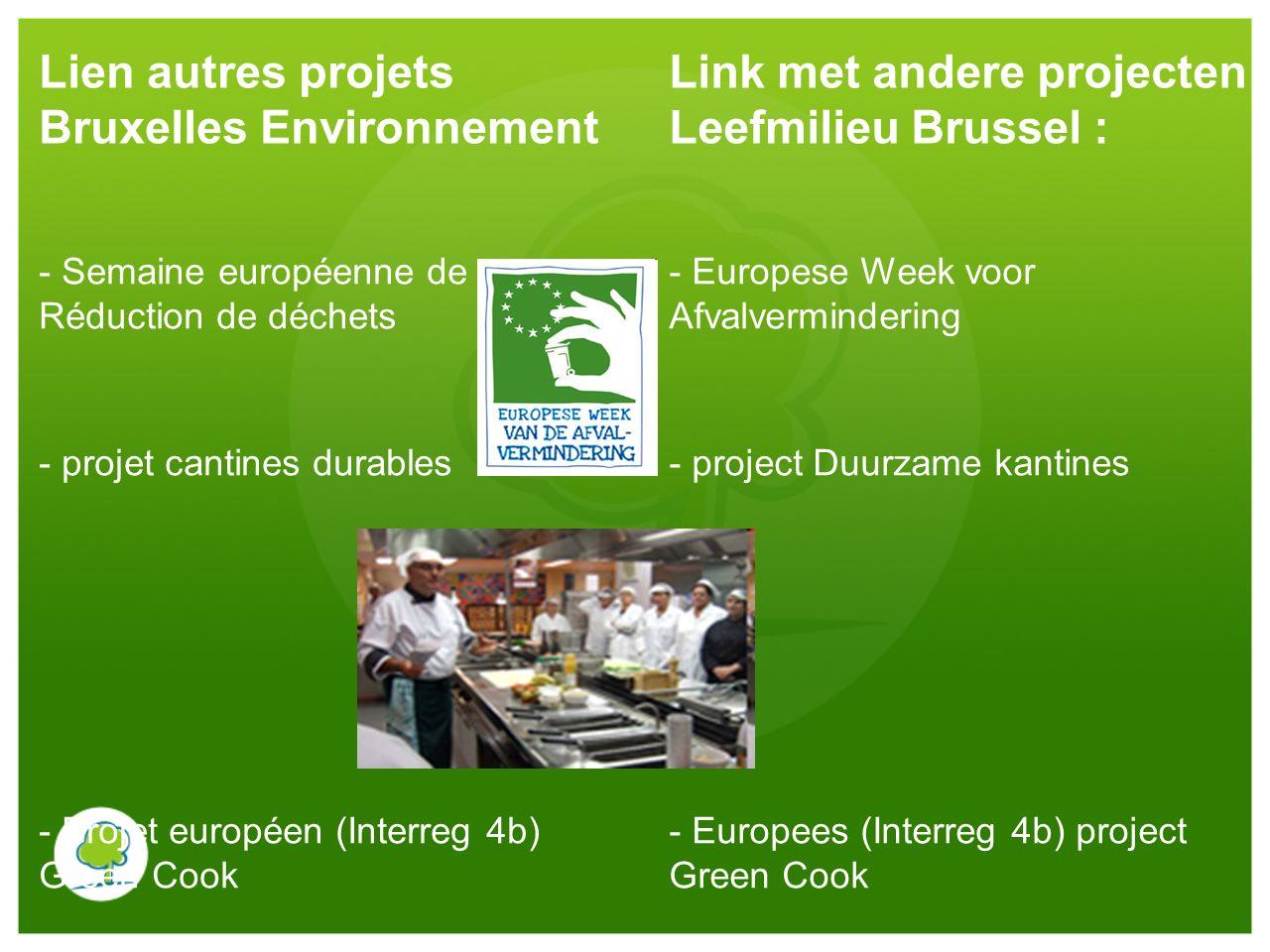 Lien autres projets Bruxelles Environnement Link met andere projecten Leefmilieu Brussel : - Semaine européenne de Réduction de déchets - projet canti