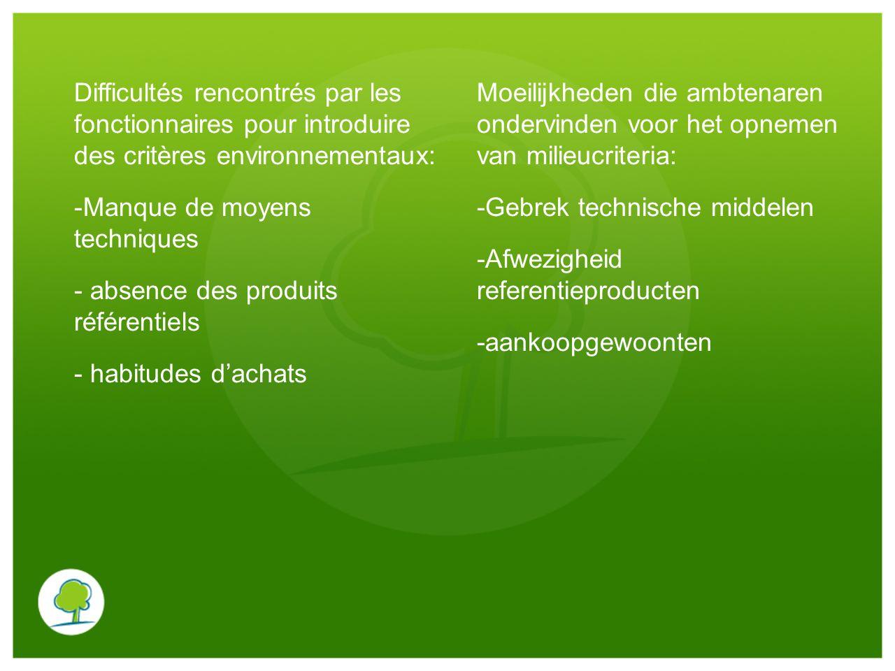 Difficultés rencontrés par les fonctionnaires pour introduire des critères environnementaux: -Manque de moyens techniques - absence des produits référ