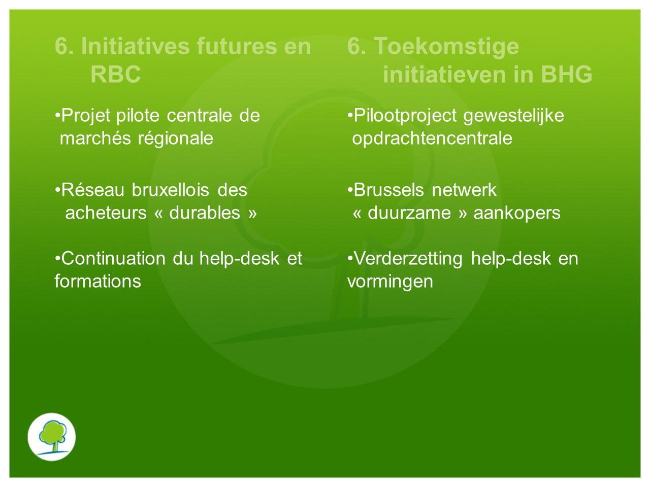 6. Initiatives futures en RBC 6. Toekomstige initiatieven in BHG Projet pilote centrale de marchés régionale Pilootproject gewestelijke opdrachtencent