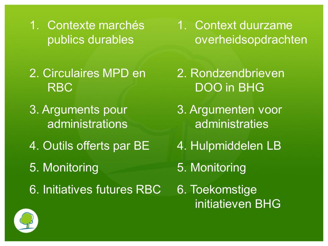 1.Contexte marchés publics durables 1.Context duurzame overheidsopdrachten 2. Circulaires MPD en RBC 3. Arguments pour administrations 4. Outils offer