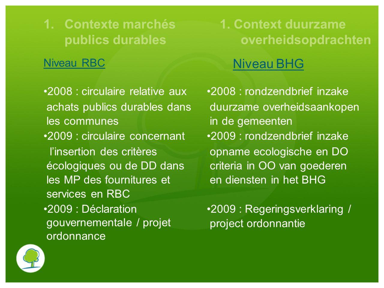 1.Contexte marchés publics durables Niveau RBC 1. Context duurzame overheidsopdrachten Niveau BHG 2008 : circulaire relative aux achats publics durabl