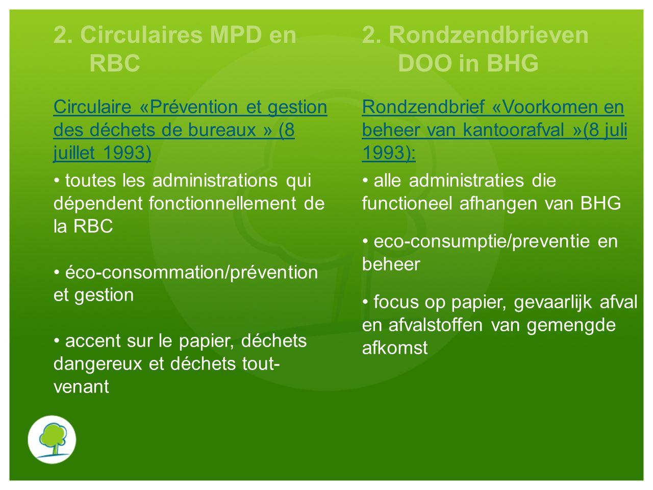 2. Circulaires MPD en RBC 2. Rondzendbrieven DOO in BHG Circulaire «Prévention et gestion des déchets de bureaux » (8 juillet 1993) Rondzendbrief «Voo