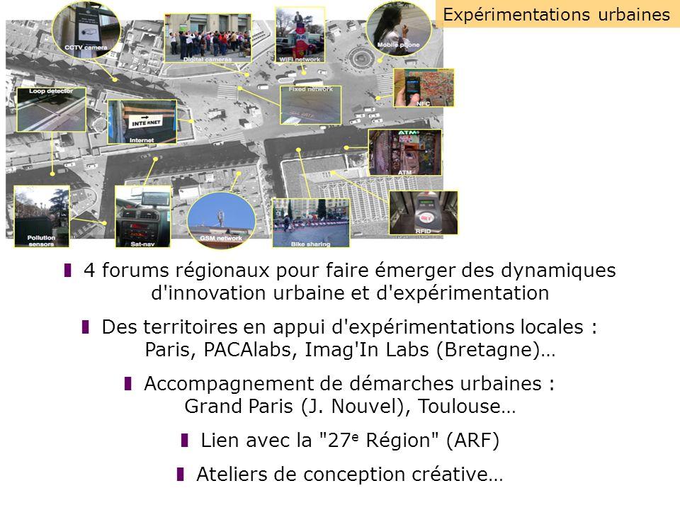 Expérimentations urbaines 4 forums régionaux pour faire émerger des dynamiques d innovation urbaine et d expérimentation Des territoires en appui d expérimentations locales : Paris, PACAlabs, Imag In Labs (Bretagne)… Accompagnement de démarches urbaines : Grand Paris (J.
