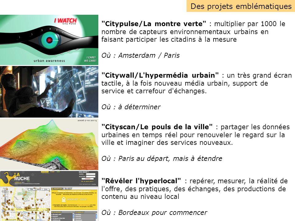 Multiplier le nombre de capteurs environnementaux par 1000 Coproduire les données environnementales avec les citadins Inventer de nouvelles représentations et de nouveaux services Ajouter une dimension ludique, esthétique, sensible à l objectif de la ville durable CityPulse / Montre Verte : un projet Villes 2.0