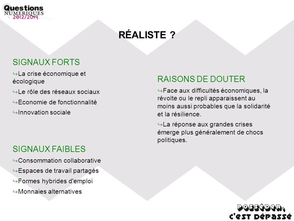 RÉALISTE ? SIGNAUX FORTS La crise économique et écologique Le rôle des réseaux sociaux Economie de fonctionnalité Innovation sociale SIGNAUX FAIBLES C