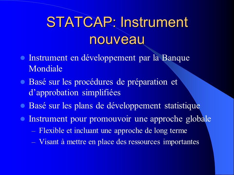 STATCAP: Instrument nouveau Instrument en développement par la Banque Mondiale Basé sur les procédures de préparation et dapprobation simplifiées Basé sur les plans de développement statistique Instrument pour promouvoir une approche globale – Flexible et incluant une approche de long terme – Visant à mettre en place des ressources importantes