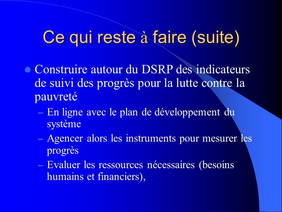 Ce qui reste à faire (suite) Construire autour du DSRP des indicateurs de suivi des progrès pour la lutte contre la pauvreté – En ligne avec le plan de développement du système – Agencer alors les instruments pour mesurer les progrès – Evaluer les ressources nécessaires (besoins humains et financiers),