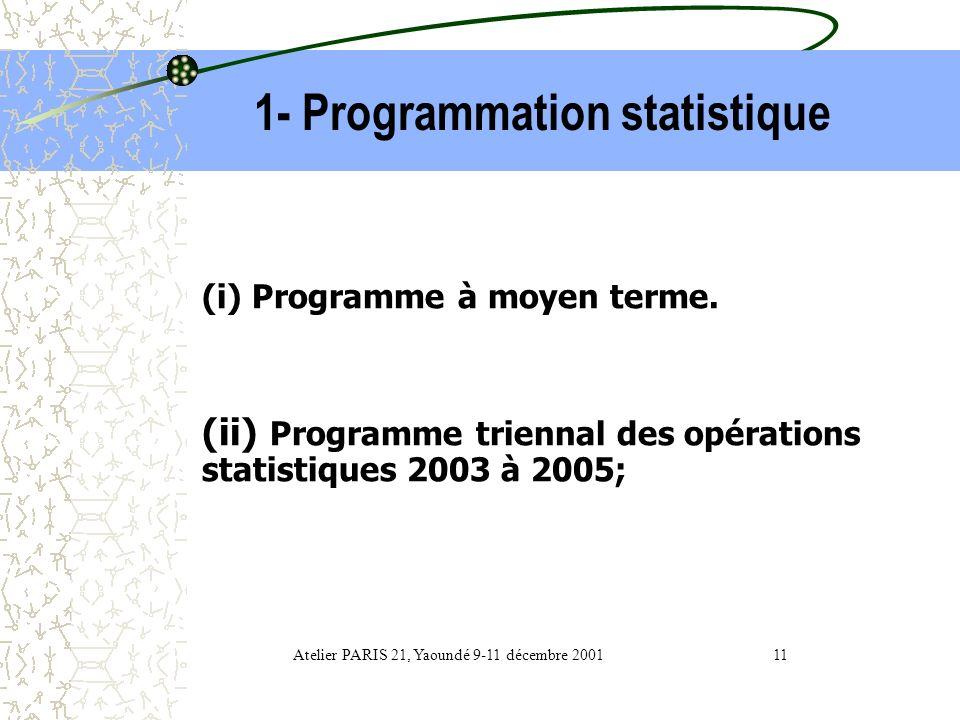 Développement de la statistique 1- Programmation statistique 2- Ressources financières 3- Ressources humaines Atelier PARIS 21, Yaoundé 9-11 décembre