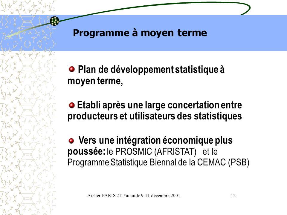 1- Programmation statistique (i) Programme à moyen terme. (ii) Programme triennal des opérations statistiques 2003 à 2005; Atelier PARIS 21, Yaoundé 9