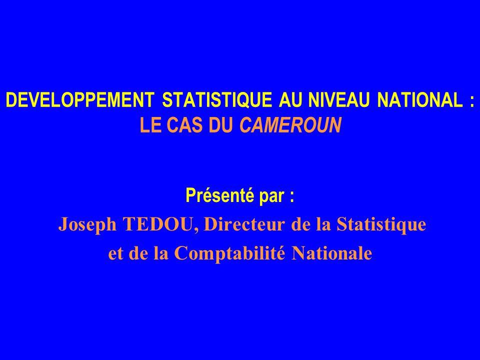 DEVELOPPEMENT STATISTIQUE AU NIVEAU NATIONAL : LE CAS DU CAMEROUN Présenté par : Joseph TEDOU, Directeur de la Statistique et de la Comptabilité Nationale