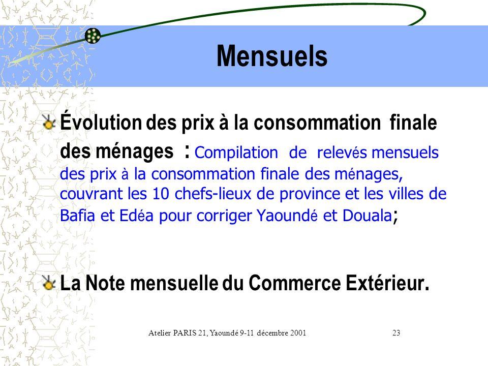 Périodiques Quelques repères chiffrés : Atelier PARIS 21, Yaoundé 9-11 décembre 2001 22