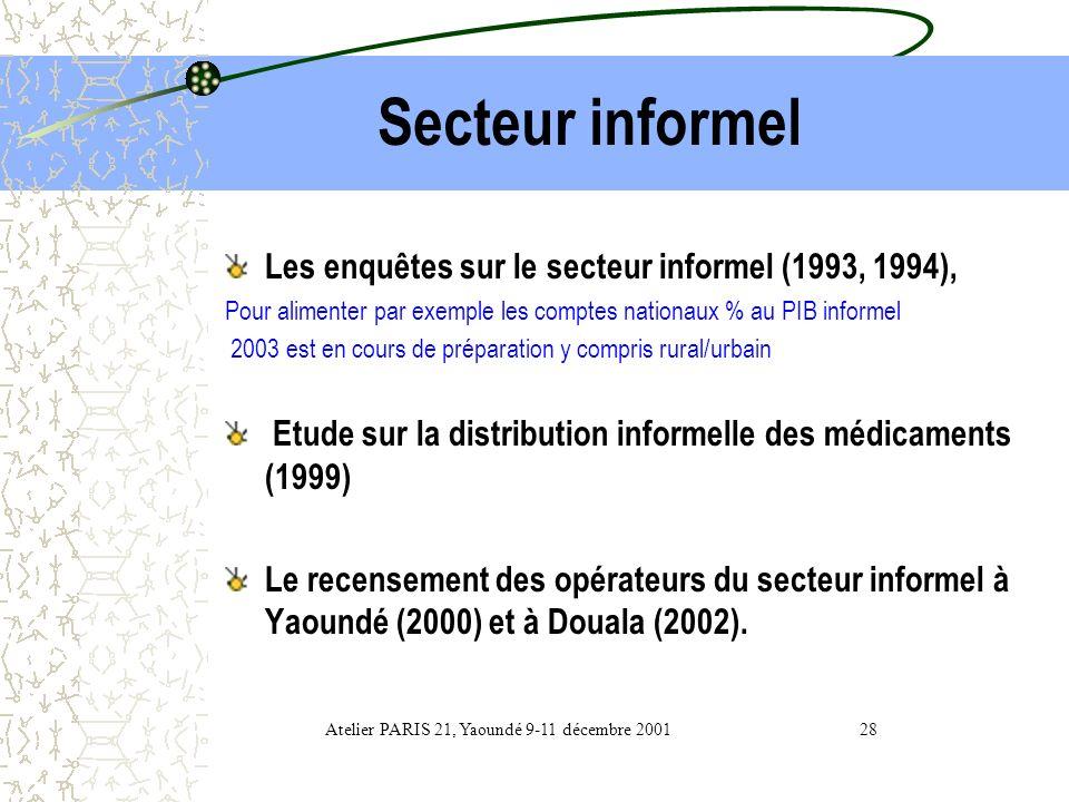 Socio-économique les Enquêtes Ménages ECAM ( 1996 DRSP I et 2001 DRSP final) ; Le Tableau de Bord Social sur la situation des femmes et des enfants (1