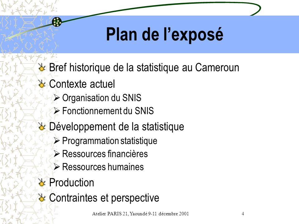 DEVELOPPEMENT STATISTIQUE AU NIVEAU NATIONAL : LE CAS DU CAMEROUN Atelier PARIS 21, Yaoundé 9-11 décembre 2001 3