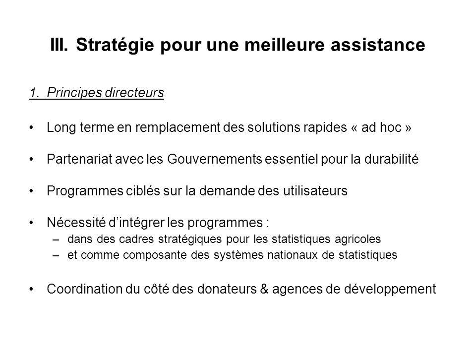 III. Stratégie pour une meilleure assistance 1.Principes directeurs Long terme en remplacement des solutions rapides « ad hoc » Partenariat avec les G