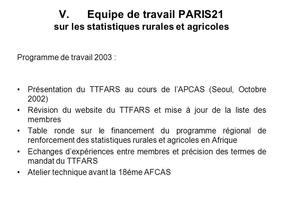V.Equipe de travail PARIS21 sur les statistiques rurales et agricoles Programme de travail 2003 : Présentation du TTFARS au cours de lAPCAS (Seoul, Oc