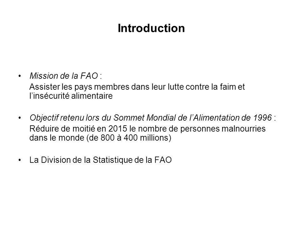 Introduction Mission de la FAO : Assister les pays membres dans leur lutte contre la faim et linsécurité alimentaire Objectif retenu lors du Sommet Mo