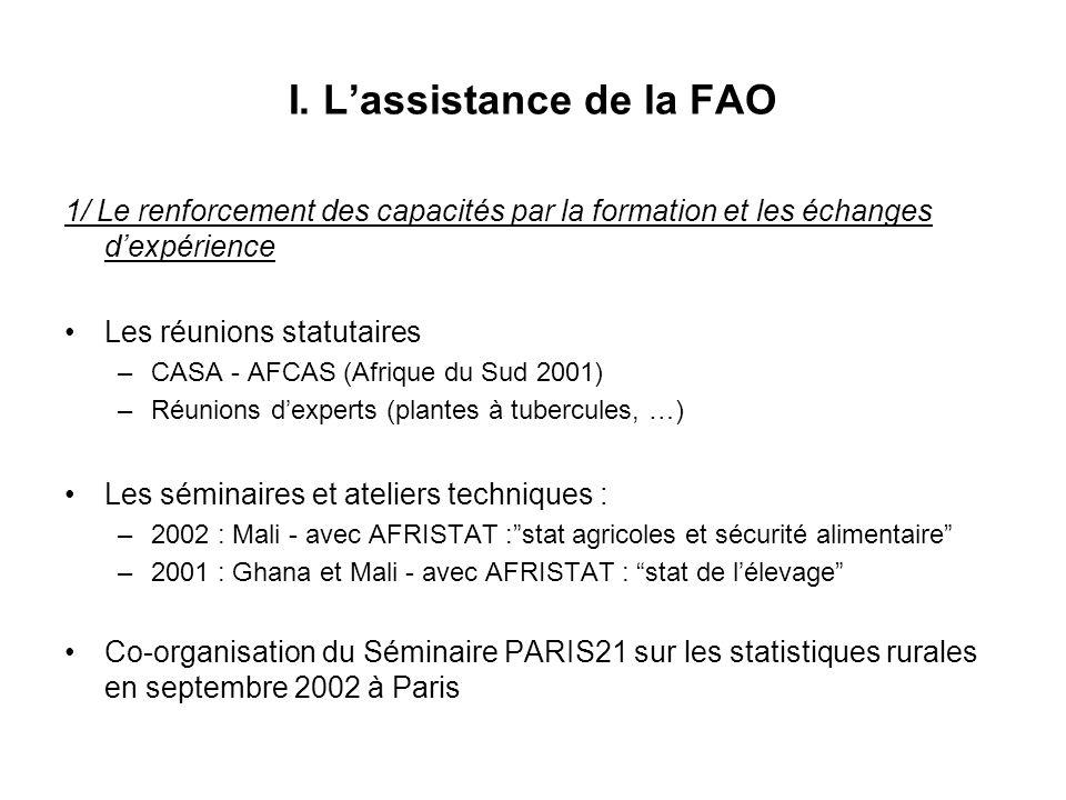 I. Lassistance de la FAO 1/ Le renforcement des capacités par la formation et les échanges dexpérience Les réunions statutaires –CASA - AFCAS (Afrique